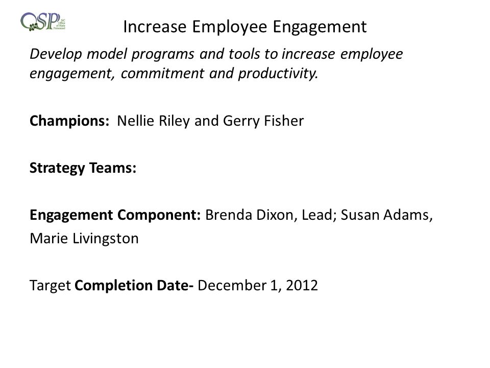 Increase Employee Engagement Develop model programs and tools to increase employee engagement, commitment and productivity. Champions: Nellie Riley an
