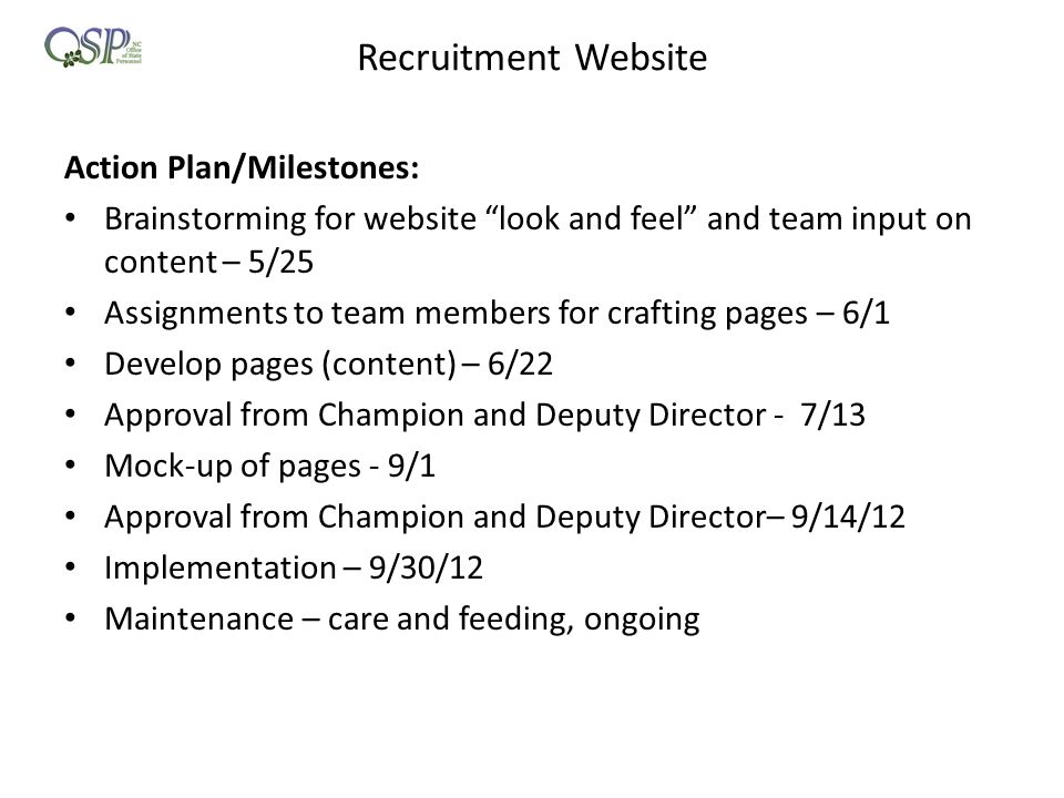 Recruitment Website Action Plan/Milestones: Brainstorming for website look and feel and team input on content – 5/25 Assignments to team members for crafting pages – 6/1 Develop pages (content) – 6/22 Approval from Champion and Deputy Director - 7/13 Mock-up of pages - 9/1 Approval from Champion and Deputy Director– 9/14/12 Implementation – 9/30/12 Maintenance – care and feeding, ongoing