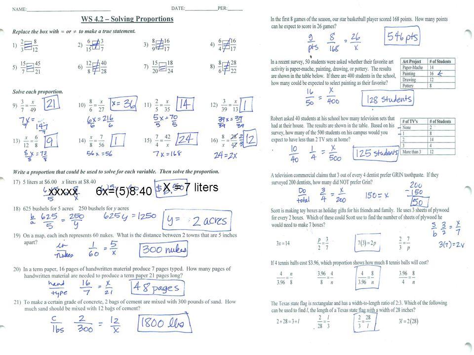 xxxxx6x=(5)8.40 X = 7 liters