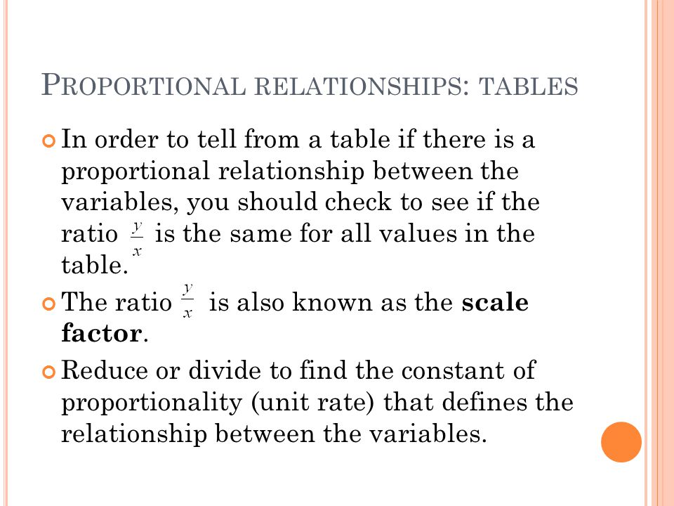 P ROPORTIONAL RELATIONSHIPS : TABLES In order to tell from a table if there is a proportional relationship between the variables, you should check to