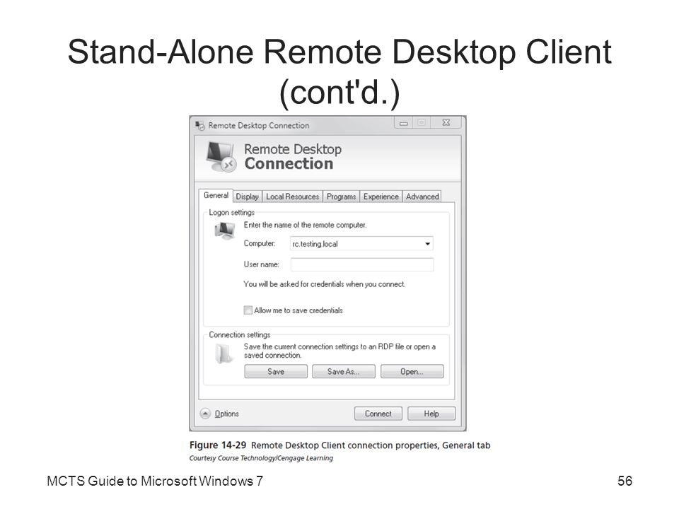 Stand-Alone Remote Desktop Client (cont'd.) MCTS Guide to Microsoft Windows 756