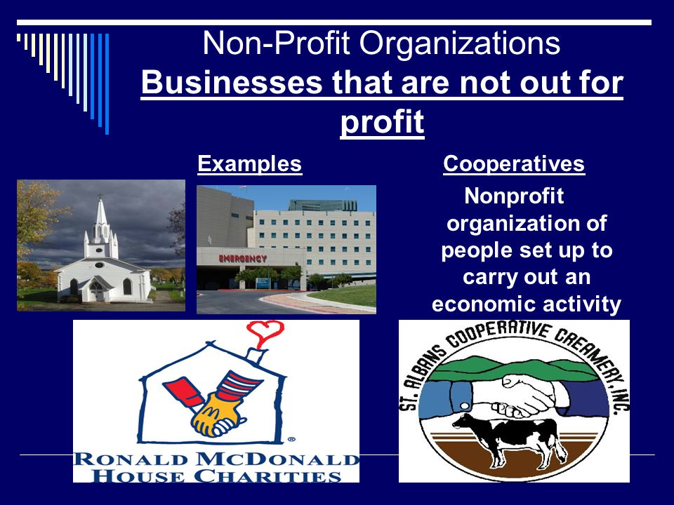 Non-Profit Organizations Businesses that are not out for profit ExamplesCooperatives Nonprofit organization of people set up to carry out an economic activity