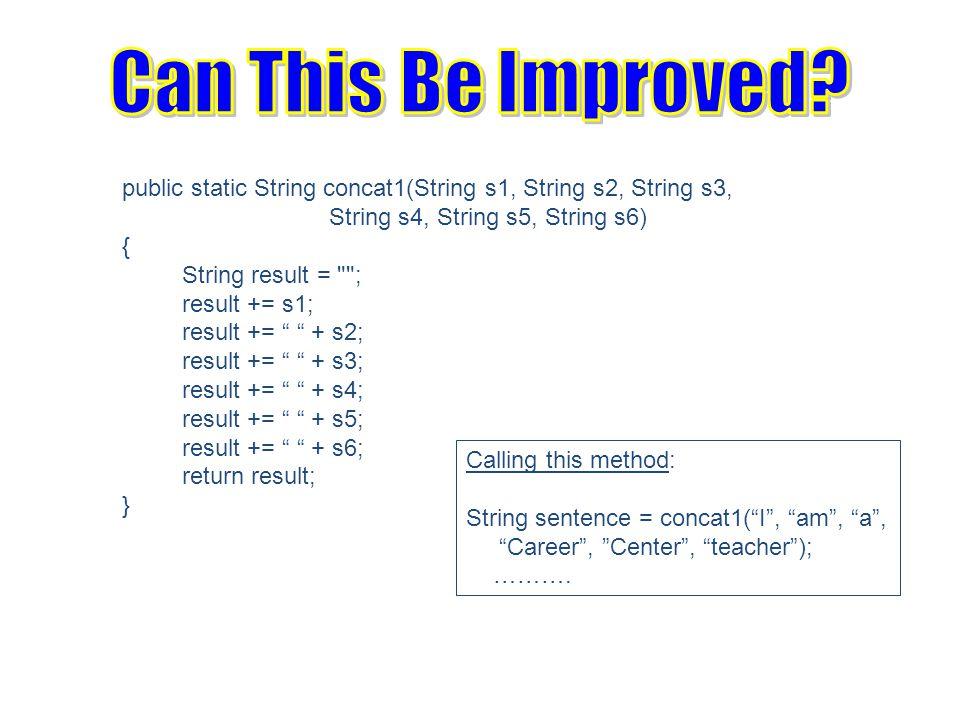 public static String concat1(String s1, String s2, String s3, String s4, String s5, String s6) { String result = ; result += s1; result += + s2; result += + s3; result += + s4; result += + s5; result += + s6; return result; } Calling this method: String sentence = concat1( I , am , a , Career , Center , teacher ); ……….