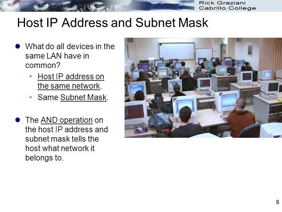 8 Host IP Address and Subnet Mask What do all devices in the same LAN have in common.