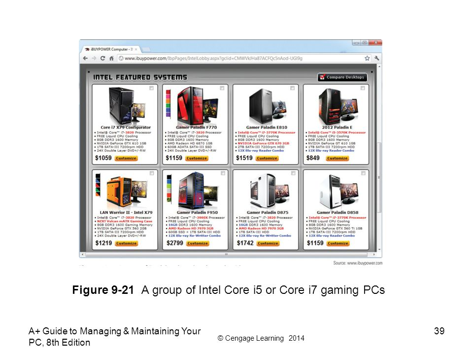 © Cengage Learning 2014 A+ Guide to Managing & Maintaining Your PC, 8th Edition 39 Figure 9-21 A group of Intel Core i5 or Core i7 gaming PCs