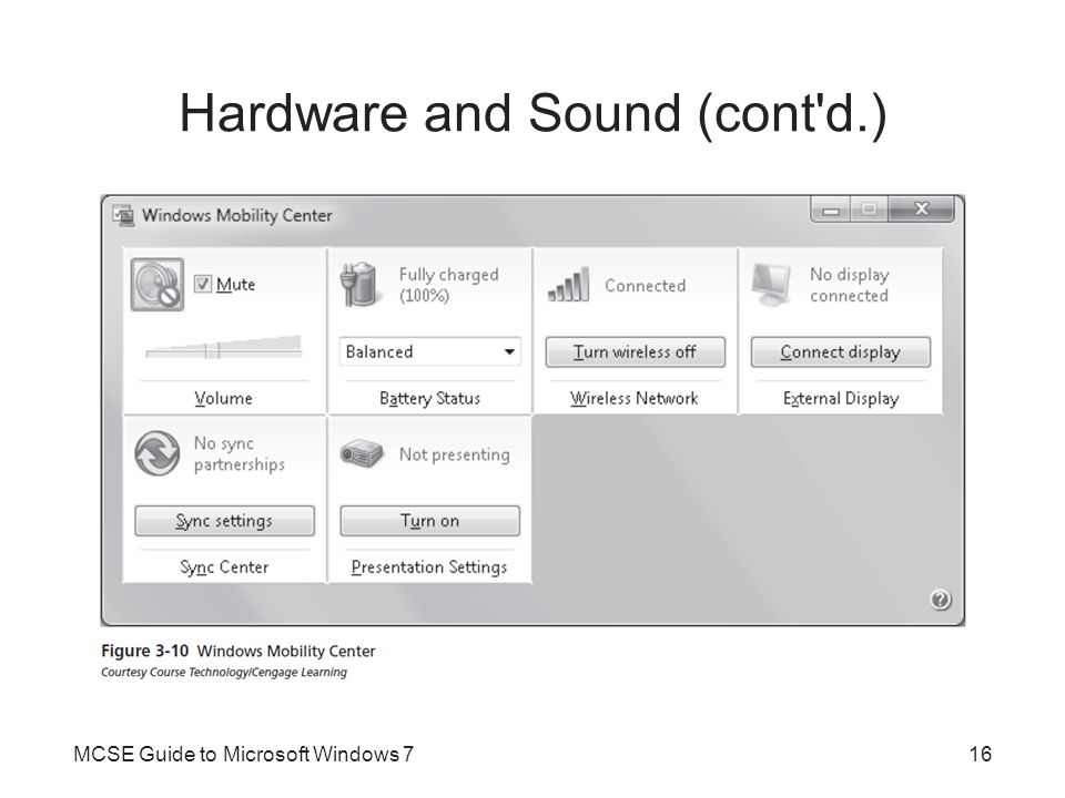 Hardware and Sound (cont'd.) MCSE Guide to Microsoft Windows 716