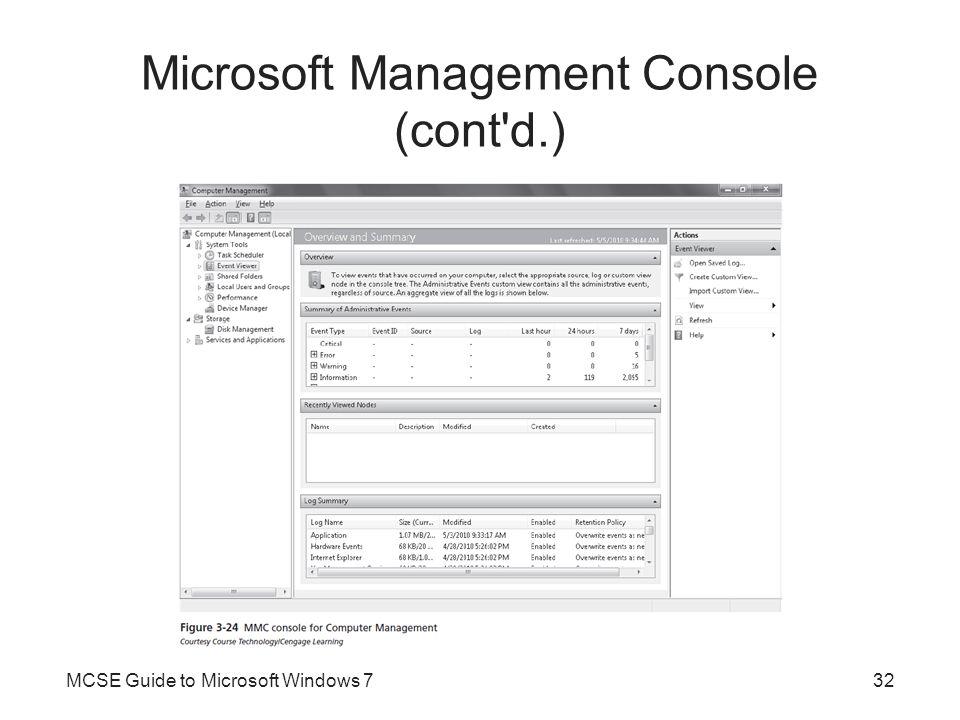 Microsoft Management Console (cont'd.) MCSE Guide to Microsoft Windows 732