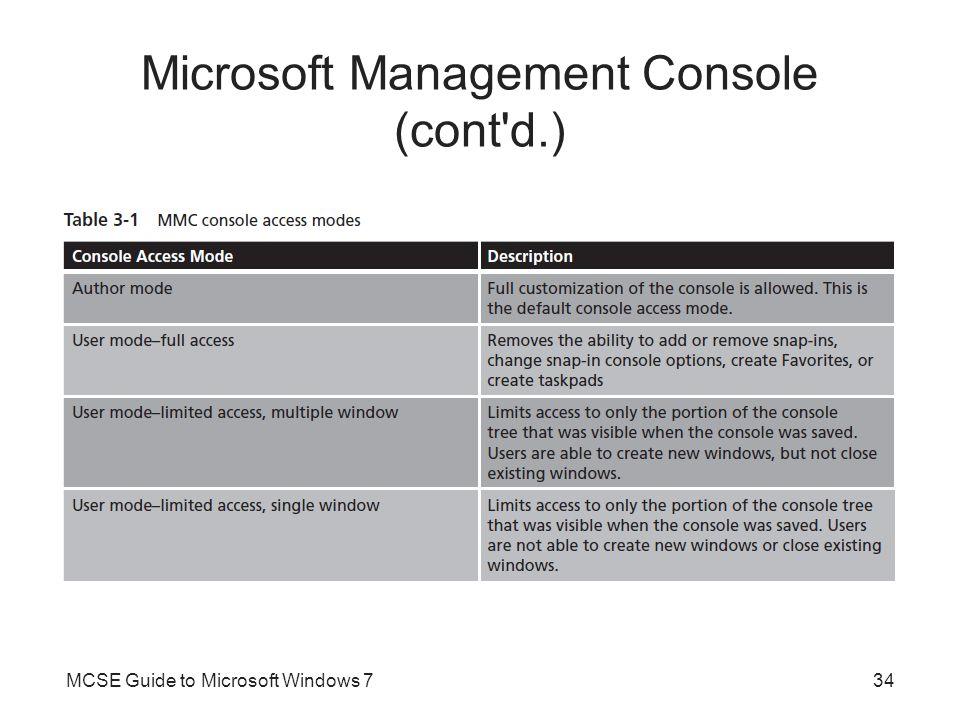 Microsoft Management Console (cont'd.) MCSE Guide to Microsoft Windows 734