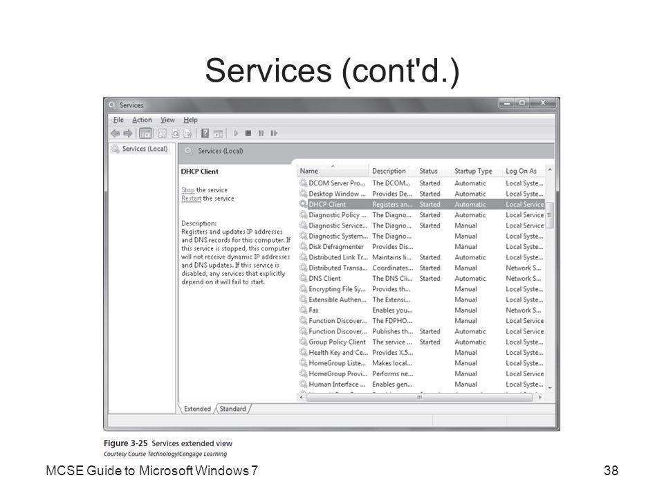 Services (cont'd.) MCSE Guide to Microsoft Windows 738