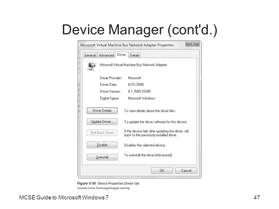 Device Manager (cont'd.) MCSE Guide to Microsoft Windows 747