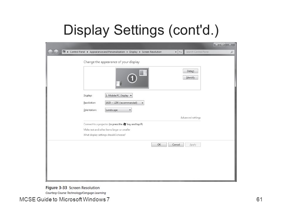 Display Settings (cont'd.) MCSE Guide to Microsoft Windows 761