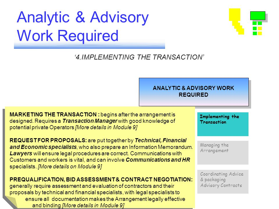 Analytic & Advisory Work Required ANALYTIC & ADVISORY WORK REQUIRED ANALYTIC & ADVISORY WORK REQUIRED Coordinating Advice & packaging Advisory Contracts Implementing the Transaction Choosing Sector Strategy Setting Standards Tariffs & Subsidies Risk Analysis & Design of Arrangements Managing the Arrangement '4.IMPLEMENTING THE TRANSACTION' MARKETING THE TRANSACTION : begins after the arrangement is designed.