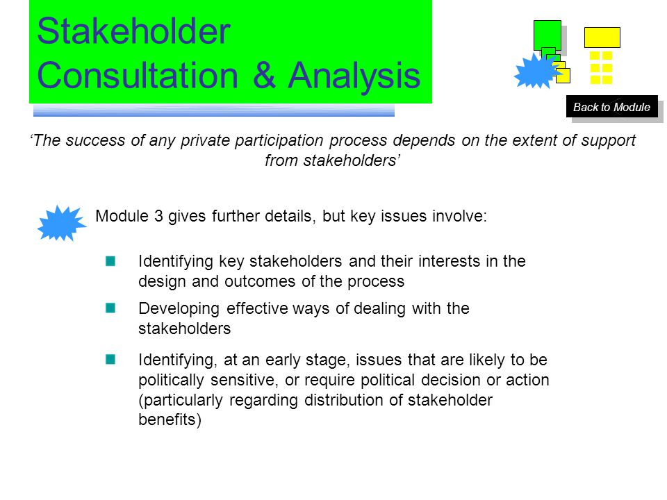 Stakeholder Consultation & Analysis 'The success of any private participation process depends on the extent of support from stakeholders' Module 3 gives further details, but key issues involve: Identifying key stakeholders and their interests in the design and outcomes of the process Developing effective ways of dealing with the stakeholders Identifying, at an early stage, issues that are likely to be politically sensitive, or require political decision or action (particularly regarding distribution of stakeholder benefits) Back to Module