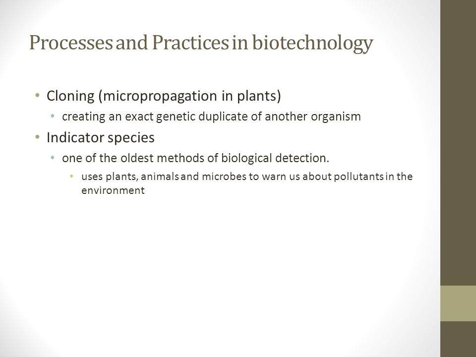 Processes and Practices in biotechnology Cloning (micropropagation in plants) creating an exact genetic duplicate of another organism Indicator specie