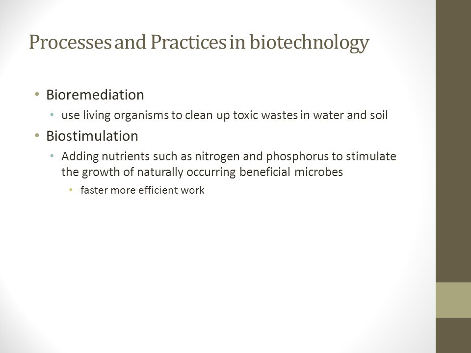 Processes and Practices in biotechnology Bioremediation use living organisms to clean up toxic wastes in water and soil Biostimulation Adding nutrient