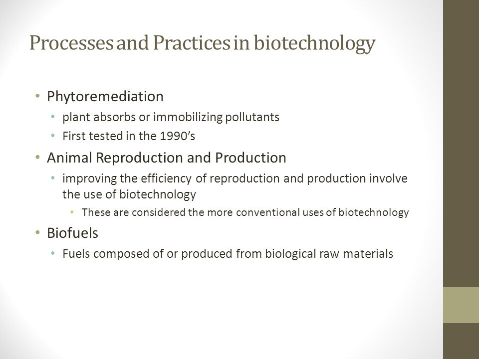Processes and Practices in biotechnology Phytoremediation plant absorbs or immobilizing pollutants First tested in the 1990's Animal Reproduction and