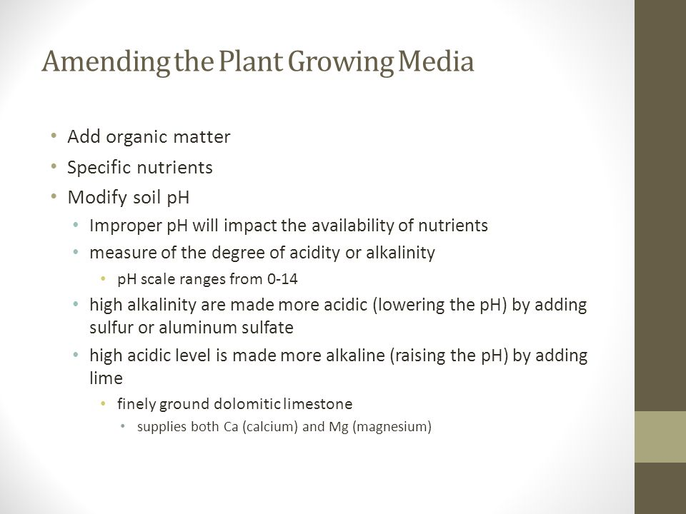 Amending the Plant Growing Media Add organic matter Specific nutrients Modify soil pH Improper pH will impact the availability of nutrients measure of