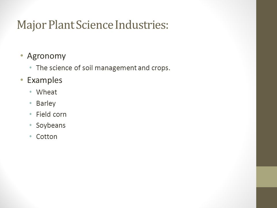 Major Plant Science Industries: Agronomy The science of soil management and crops. Examples Wheat Barley Field corn Soybeans Cotton