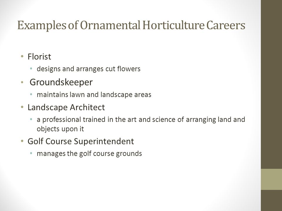 Examples of Ornamental Horticulture Careers Florist designs and arranges cut flowers Groundskeeper maintains lawn and landscape areas Landscape Archit