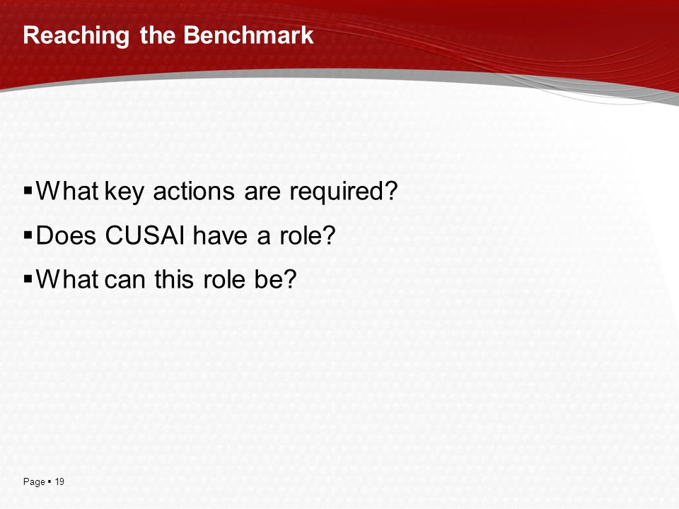 Page  19 Reaching the Benchmark  What key actions are required?  Does CUSAI have a role?  What can this role be?