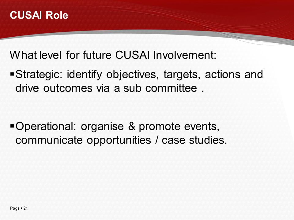 Page  21 CUSAI Role What level for future CUSAI Involvement:  Strategic: identify objectives, targets, actions and drive outcomes via a sub committe