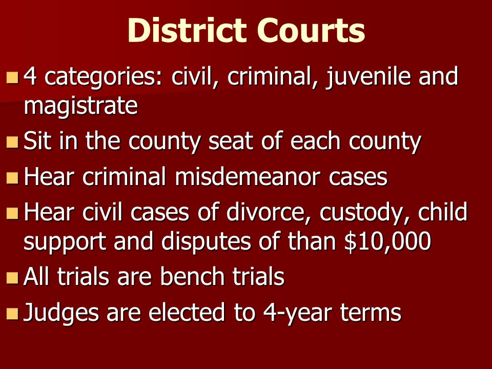 District Courts 4 categories: civil, criminal, juvenile and magistrate 4 categories: civil, criminal, juvenile and magistrate Sit in the county seat o