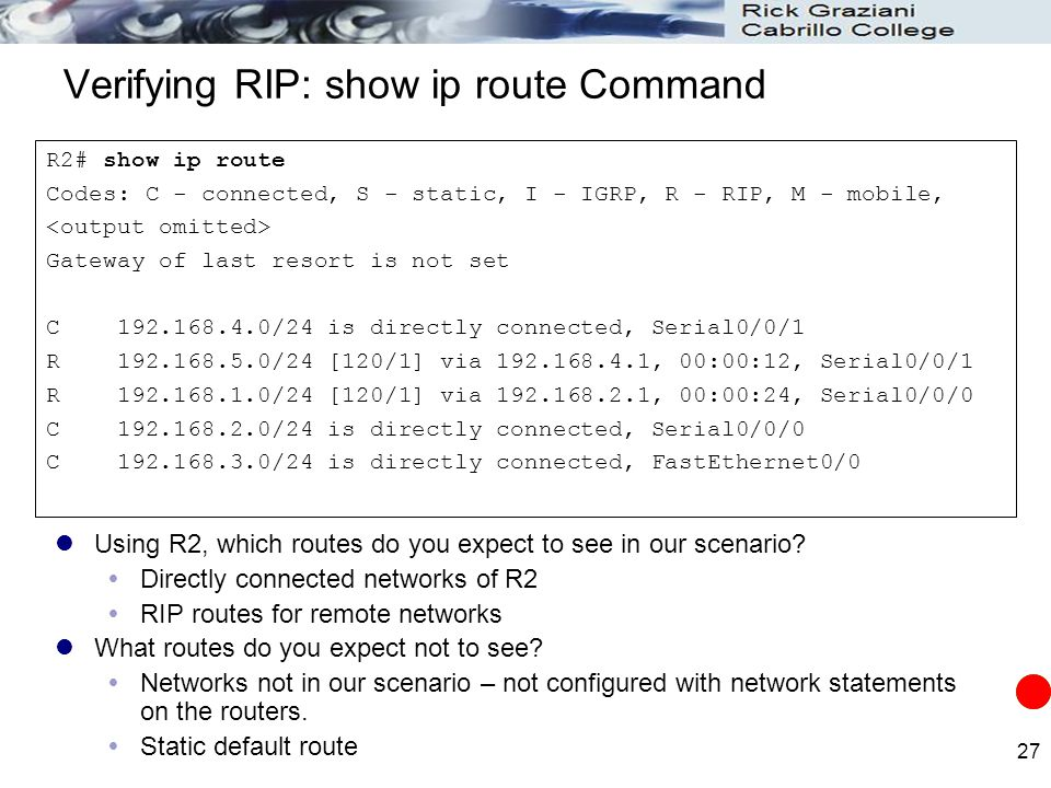 27 Verifying RIP: show ip route Command R2# show ip route Codes: C - connected, S - static, I - IGRP, R - RIP, M - mobile, Gateway of last resort is n