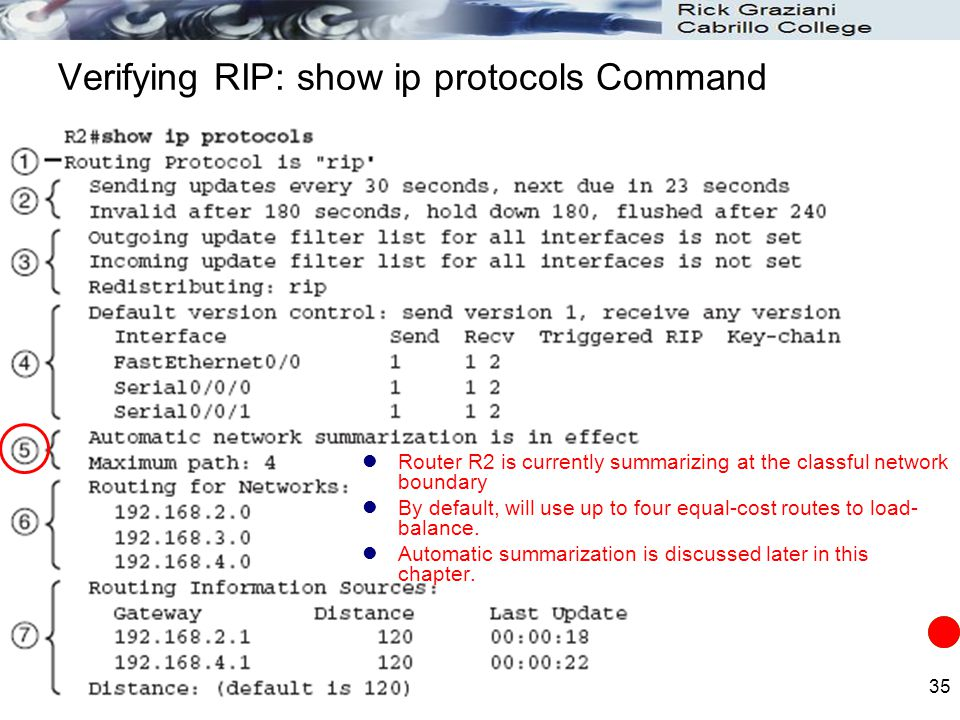 35 Verifying RIP: show ip protocols Command Router R2 is currently summarizing at the classful network boundary By default, will use up to four equal-