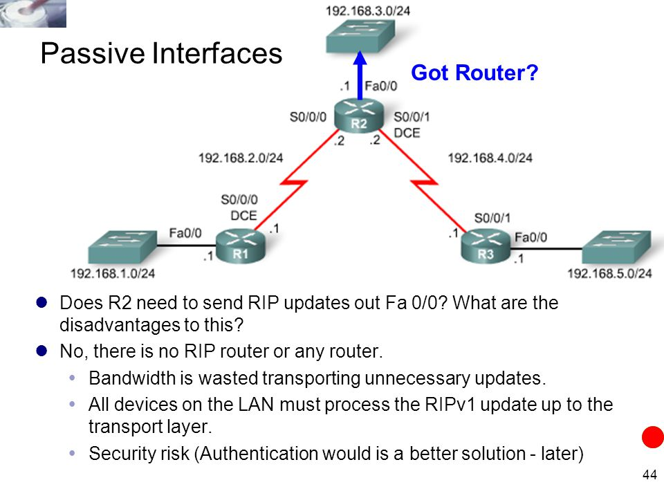 44 Does R2 need to send RIP updates out Fa 0/0? What are the disadvantages to this? No, there is no RIP router or any router.  Bandwidth is wasted tr