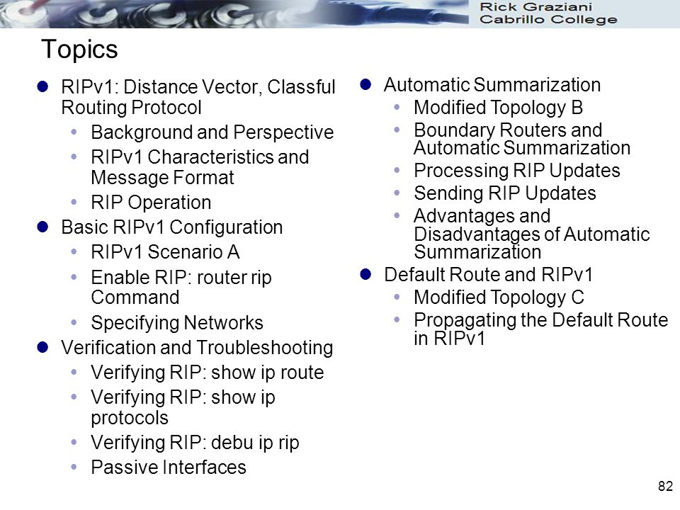 82 Topics RIPv1: Distance Vector, Classful Routing Protocol  Background and Perspective  RIPv1 Characteristics and Message Format  RIP Operation Ba