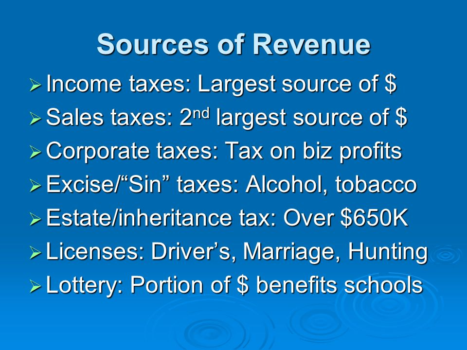 Sources of Revenue  Income taxes: Largest source of $  Sales taxes: 2 nd largest source of $  Corporate taxes: Tax on biz profits  Excise/ Sin taxes: Alcohol, tobacco  Estate/inheritance tax: Over $650K  Licenses: Driver's, Marriage, Hunting  Lottery: Portion of $ benefits schools