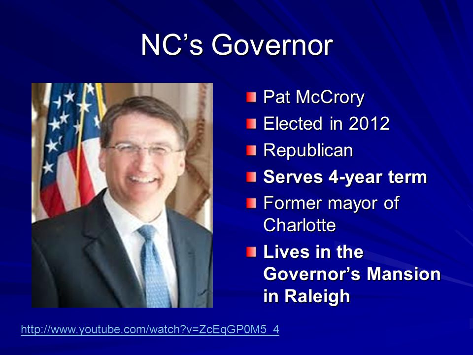 Requirements of NC Governor Must be at least 30 years old.