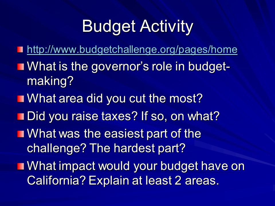 Budget Activity http://www.budgetchallenge.org/pages/home What is the governor's role in budget- making.