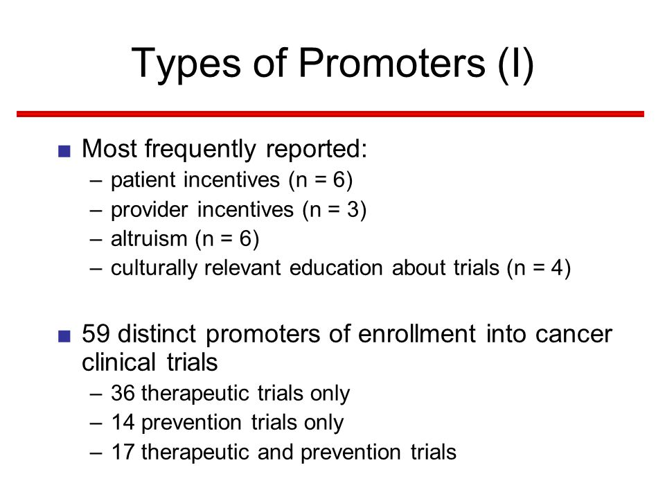 Types of Promoters (I) ■Most frequently reported: –patient incentives (n = 6) –provider incentives (n = 3) –altruism (n = 6) –culturally relevant education about trials (n = 4) ■59 distinct promoters of enrollment into cancer clinical trials –36 therapeutic trials only –14 prevention trials only –17 therapeutic and prevention trials