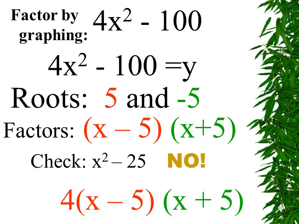 Factor by graphing: 4x 2 - 100 4x 2 - 100 =y Roots: 5 and -5 Factors: (x – 5) (x+5) 4(x – 5) (x + 5) Check: x 2 – 25 NO!
