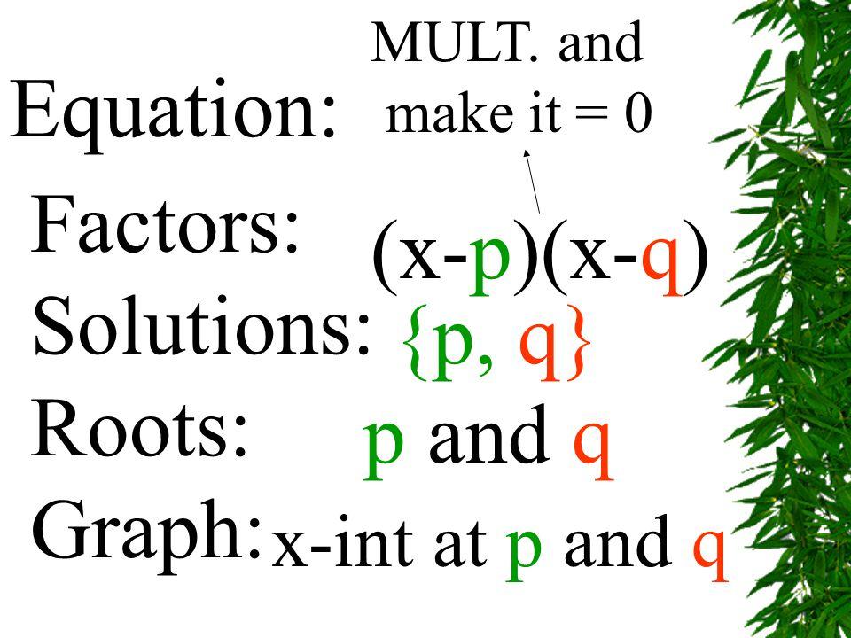 Solve by Factoring: 2x 2 +7x = 15 2x 2 +7x – 15 = 0 (2x-3) (x+5) = 0 (2x-3)=0 or (x+5)= 0 2x=3 or x=-5 x=3/2 or x=-5