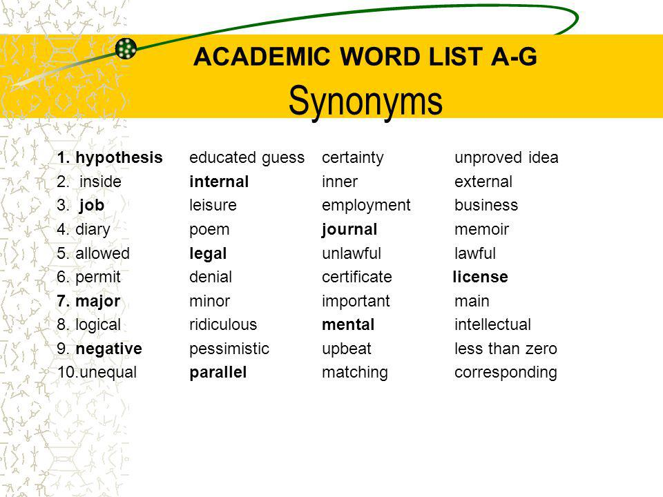 ACADEMIC WORD LIST A-G Synonyms 1. hypothesiseducated guesscertaintyunproved idea 2. insideinternalinnerexternal 3. jobleisureemploymentbusiness 4. di