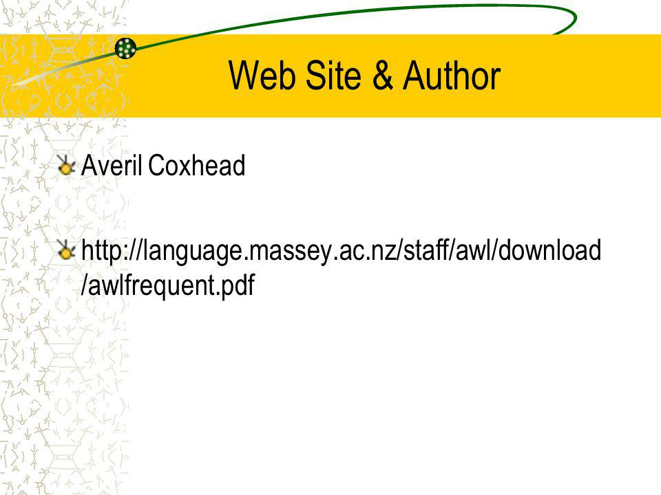 Web Site & Author Averil Coxhead http://language.massey.ac.nz/staff/awl/download /awlfrequent.pdf