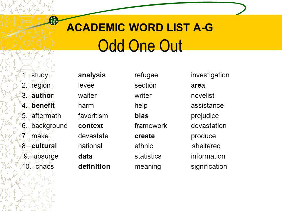 ACADEMIC WORD LIST A-G Odd One Out 1. studyanalysisrefugeeinvestigation 2.