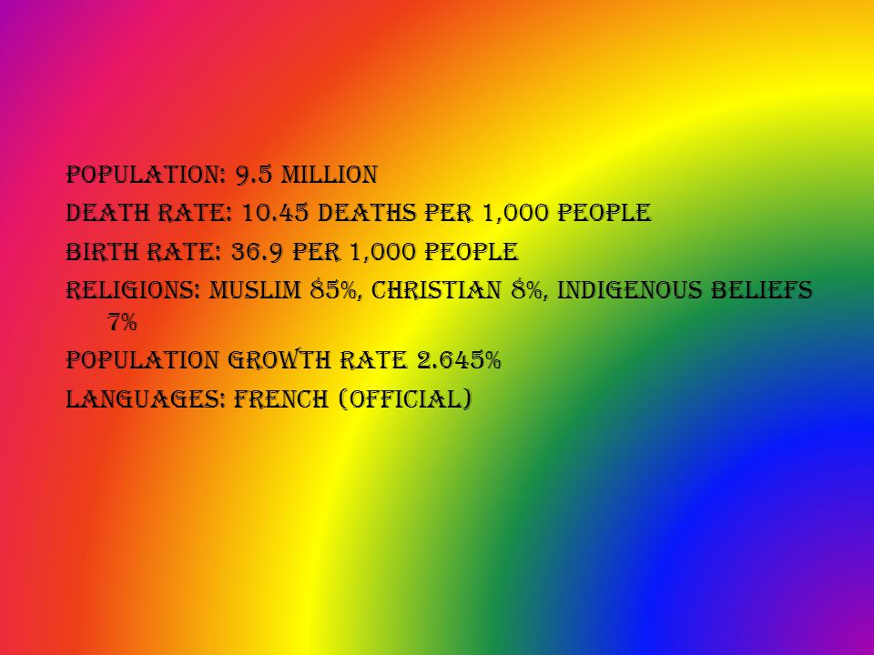 population: 9.5 million death rate: 10.45 deaths per 1,000 people birth rate: 36.9 per 1,000 people religions: Muslim 85%, Christian 8%, indigenous beliefs 7% population growth rate 2.645% languages: french (official)