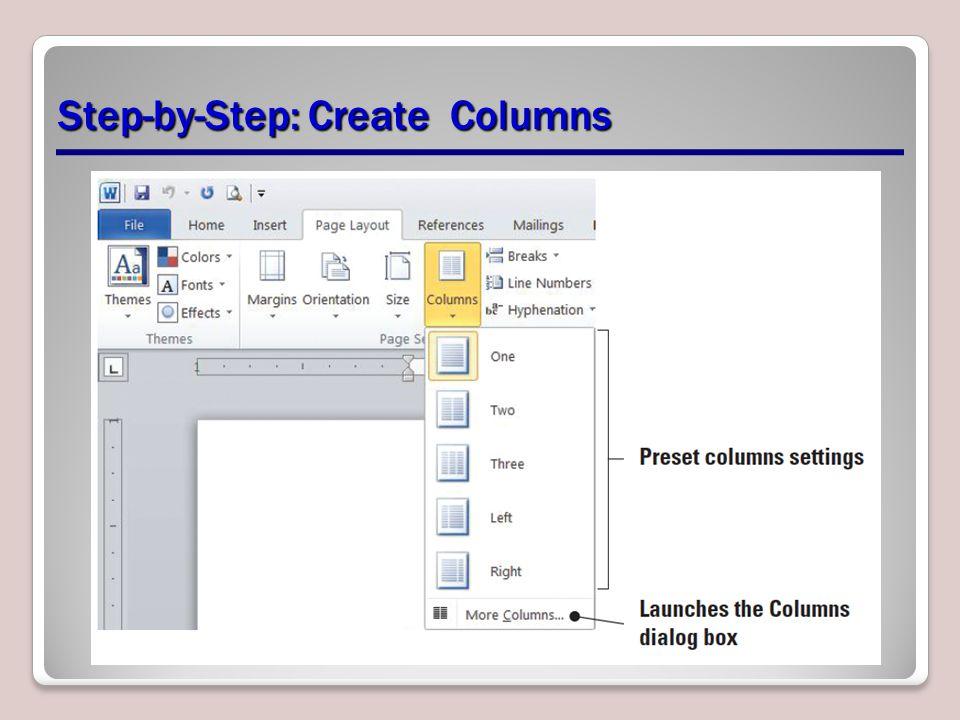 Step-by-Step: Create Columns