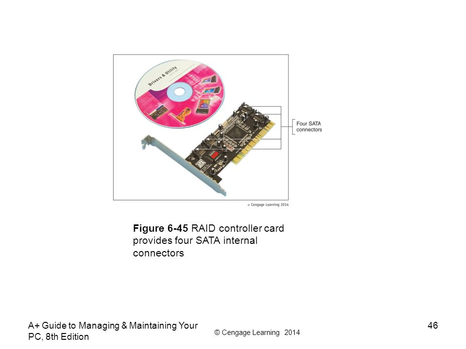 © Cengage Learning 2014 A+ Guide to Managing & Maintaining Your PC, 8th Edition 46 Figure 6-45 RAID controller card provides four SATA internal connec