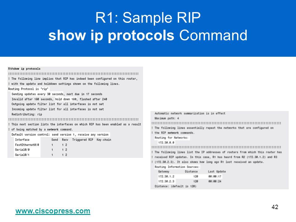 www.ciscopress.com 42 R1: Sample RIP show ip protocols Command