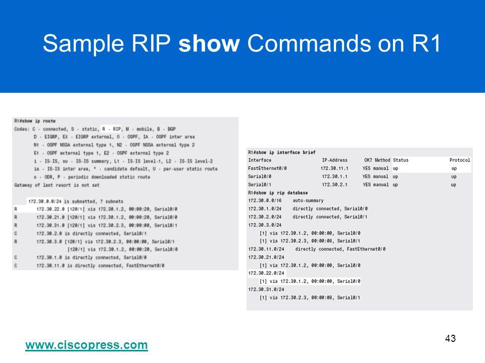 www.ciscopress.com 43 Sample RIP show Commands on R1