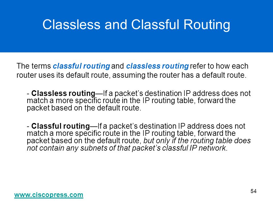 www.ciscopress.com 54 Classless and Classful Routing The terms classful routing and classless routing refer to how each router uses its default route,