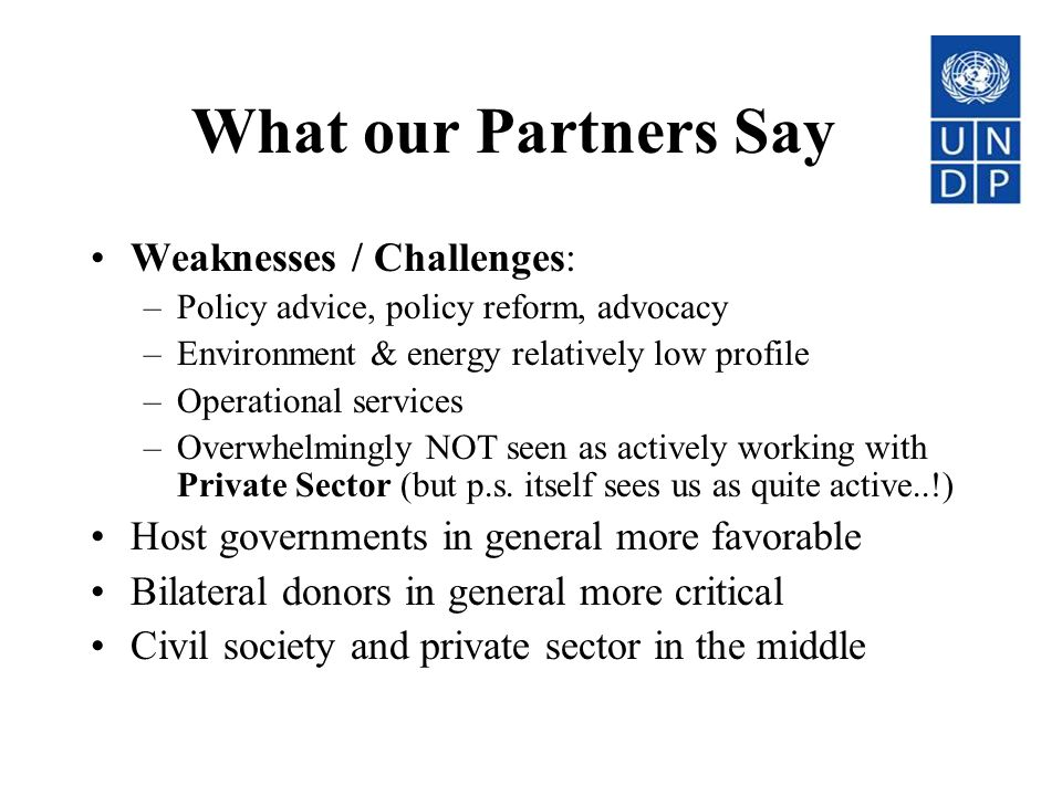 What our Partners Say Weaknesses / Challenges: –Policy advice, policy reform, advocacy –Environment & energy relatively low profile –Operational services –Overwhelmingly NOT seen as actively working with Private Sector (but p.s.