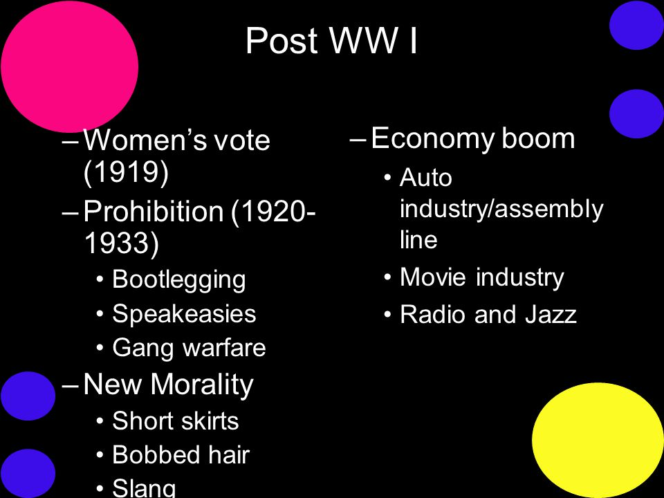 Post WW I –Women's vote (1919) –Prohibition (1920- 1933) Bootlegging Speakeasies Gang warfare –New Morality Short skirts Bobbed hair Slang –Economy boom Auto industry/assembly line Movie industry Radio and Jazz