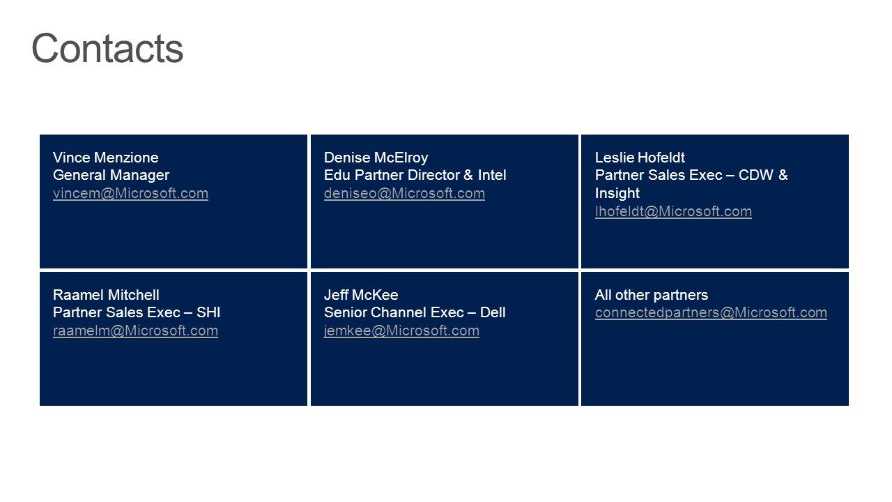Vince Menzione General Manager vincem@Microsoft.com Denise McElroy Edu Partner Director & Intel deniseo@Microsoft.com Raamel Mitchell Partner Sales Ex