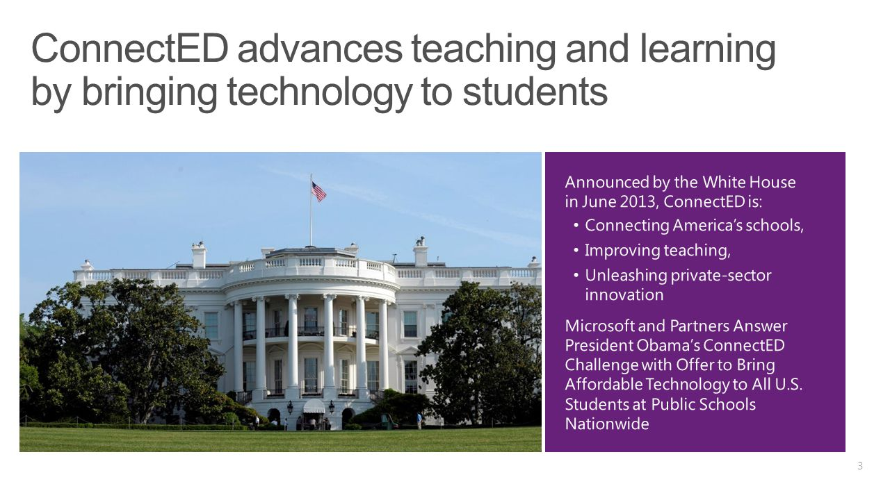 Microsoft Office for all students at no additional cost for qualifying schools 5 free licenses per student of Office Pro Plus if the school also uses it Low-cost broadband available through EveryoneOn non-profit Significantly lower EDU price for Windows 8.1 Pro via OEMs: Single Letter of Eligibility for all K-12 public schools Free professional development for teachers through Partners in Learning Ad-free search with Bing for Schools