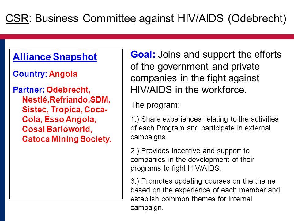 Alliance Snapshot Country: Angola Partner: Odebrecht, Nestlé,Refriando,SDM, Sistec, Tropica, Coca- Cola, Esso Angola, Cosal Barloworld, Catoca Mining Society.